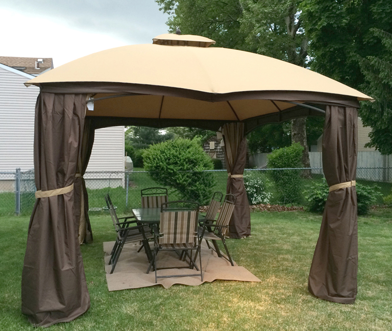 Allen Roth Polyester Roof Brown Steel Rectangle Gazebo