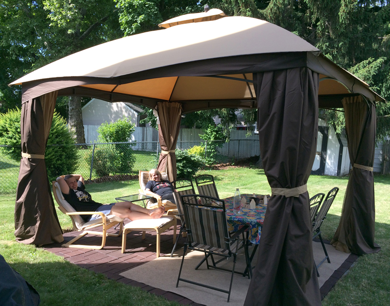 And Now We Have A Backyard Oasis Moved The Table Sideways Brought Out Two IKEA Poang Chairs Had In House That Dont Really Use