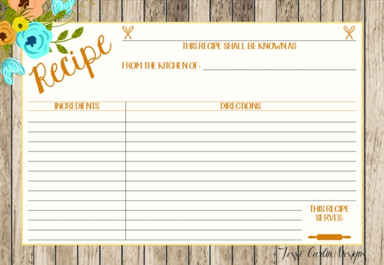 Floral Recipe Card