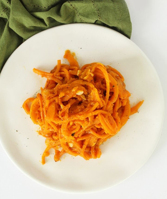 Vegan Butternut Squash Noodles and Toasted Almons with Pumpkin Sage Sauce