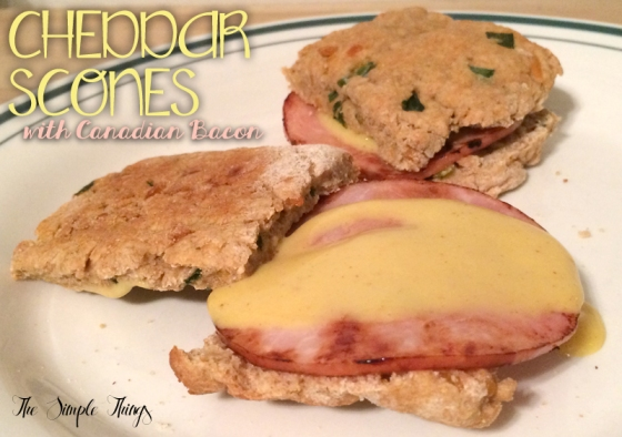 Cheddar Scones with Canadian Bacon