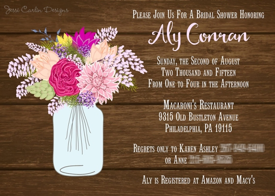 Mason Jar Shower Invitation